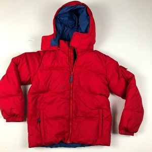5c7aa9db986 Lands End Boys Red Hooded Puffer Coat Jacket Sz M